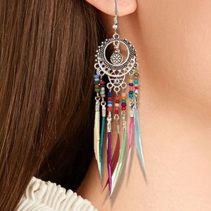 🌼 BOGO! Silver Boho Feather Earrings Multi Color